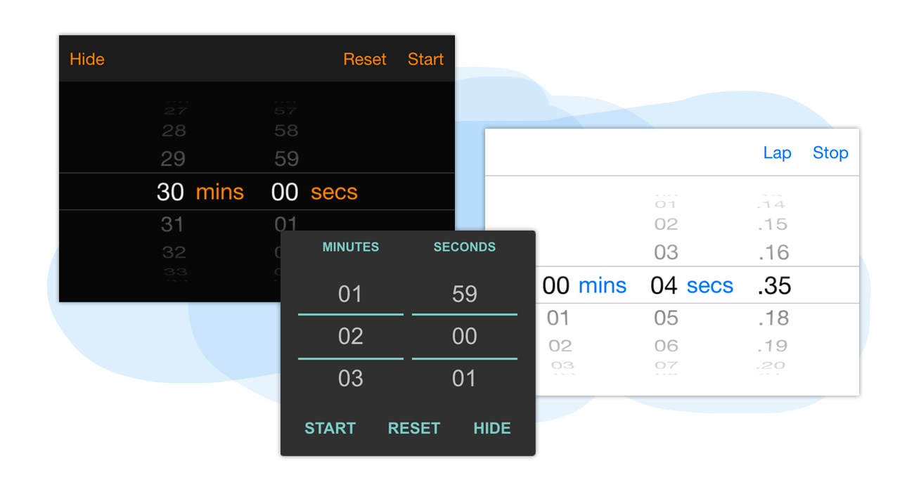 Timer with countdown and stopwatch